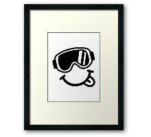 Ski smiley face Framed Print