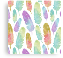 Boho Feather Pattern Watercolor Rainbow Canvas Print