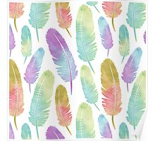 Boho Feather Pattern Watercolor Rainbow Poster
