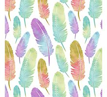Boho Feather Pattern Watercolor Rainbow Photographic Print