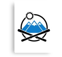 Crossed ski mountains Canvas Print