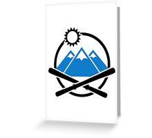 Crossed ski mountains Greeting Card