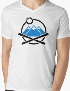 Crossed ski mountains Mens V-Neck T-Shirt