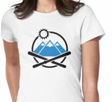 Crossed ski mountains Womens Fitted T-Shirt