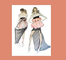 For Stylish Fashion Girls in white, black and peach by Greta Corens