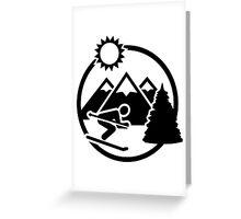 Skiing mountains sun Greeting Card