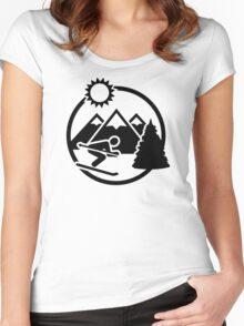 Skiing mountains sun Women's Fitted Scoop T-Shirt