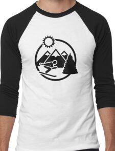 Skiing mountains sun Men's Baseball ¾ T-Shirt