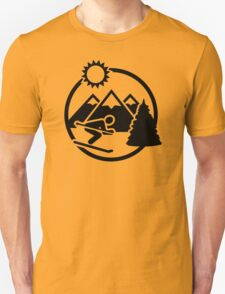 Skiing mountains sun Unisex T-Shirt