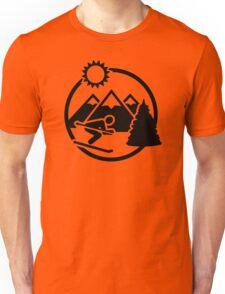 Skiing mountains sun Unisex T-Shirt