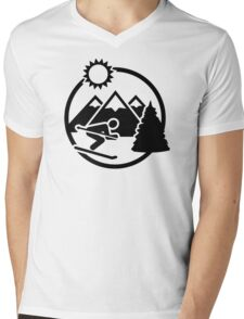 Skiing mountains sun Mens V-Neck T-Shirt