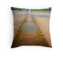 Jetty over sandy beach Throw Pillow