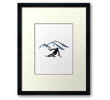 Skiing mountains Framed Print