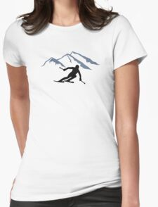 Skiing mountains Womens Fitted T-Shirt