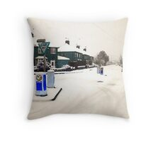 Snow on the road Throw Pillow