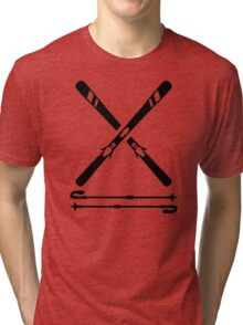 Crossed ski equipment Tri-blend T-Shirt