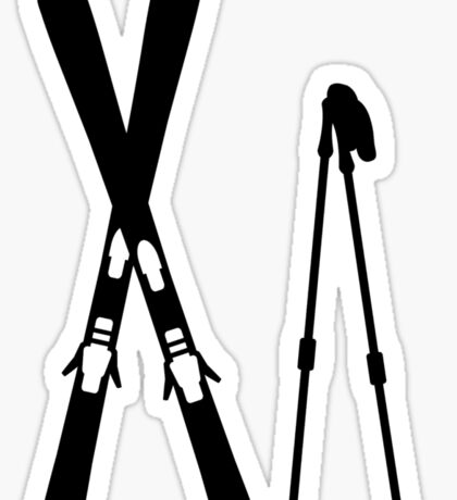 Crossed ski sticks Sticker