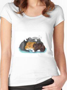 Sleeping Kitty Pile Women's Fitted Scoop T-Shirt