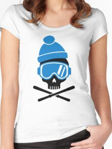 Skiing skull Women's Fitted Scoop T-Shirt
