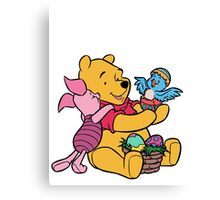 Pooh and Piglet at Easter Canvas Print