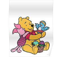 Pooh and Piglet at Easter Poster