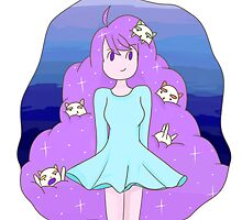 Bee and Puppycat Space Hair Print by niymi