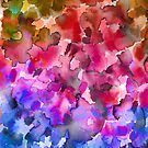 COLOR ME FLORAL 4 Whimsical Abstract Watercolor Painting Ombre Flower Pattern Pink Red Purple Blue Ochre by EbiEmporium