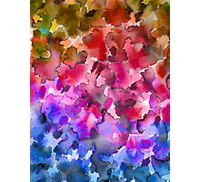 COLOR ME FLORAL 4 Whimsical Abstract Watercolor Painting Ombre Flower Pattern Pink Red Purple Blue Ochre Photographic Print