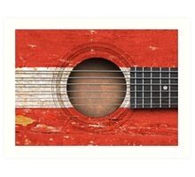 Old Vintage Acoustic Guitar with Austrian Flag Art Print