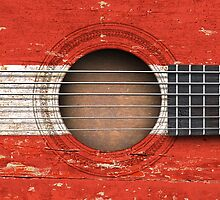 Old Vintage Acoustic Guitar with Austrian Flag by Jeff Bartels