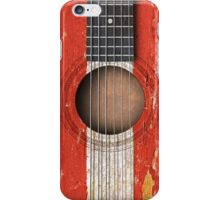 Old Vintage Acoustic Guitar with Austrian Flag iPhone Case/Skin