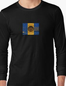 Old Vintage Acoustic Guitar with Barbados Flag Long Sleeve T-Shirt