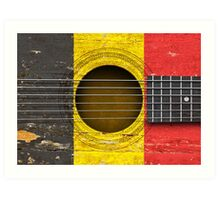 Old Vintage Acoustic Guitar with Belgian Flag Art Print