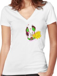 'Zombie Dating Agency' Women's Fitted V-Neck T-Shirt