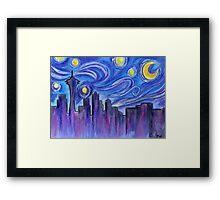Starry Night Over Seattle Framed Print