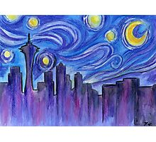 Starry Night Over Seattle Photographic Print