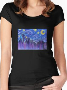 Starry Night Over Seattle Women's Fitted Scoop T-Shirt