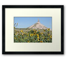 Chimney Rock and Sunflowers Framed Print