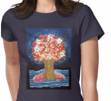 DREAMTREE WITH HYDRANGEAS AND BOUGAINVILLEAS - Collage-Design with dried Blossoms Womens Fitted T-Shirt