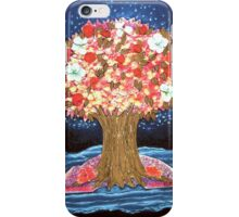 DREAMTREE WITH HYDRANGEAS AND BOUGAINVILLEAS - Collage-Design with dried Blossoms iPhone Case/Skin