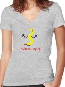 waz-up? Women's Fitted V-Neck T-Shirt