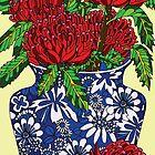 still life with waratah in blue chinese vase by genevievem