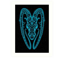 Blue Aries Zodiac Sign in the Stars Art Print