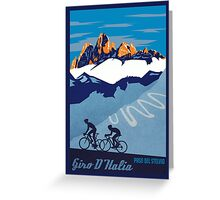 Giro D' Italia Retro  Paso Del Stelvio Cycling Poster Greeting Card