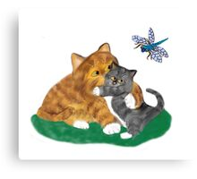 Kitten sees a Dragonfly Canvas Print