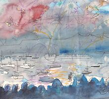 THE FIREWORKS - ENGLISH BAY VANCOUVER(SKETCH)(C1999) by Paul Romanowski
