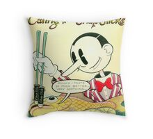 Theater Of The Absurd: Eating With Chapsticks Throw Pillow