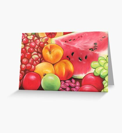 Peaches, Watermelon, Grapes, Apples...Fruit Still Life Greeting Card