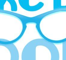 I LIKE BIG BOOKS in blue with cute eye glasses Sticker