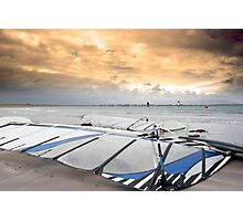 wind surfers braving the winds Photographic Print
